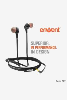 Envent Beatz 307 Wired Earphones with Mic (Black)
