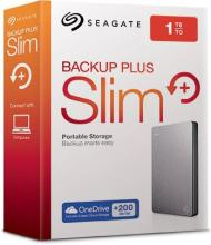 Seagate Plus Slim 1 TB Wired External Hard Disk Drive(Silver, Mobile Backup Enabled)