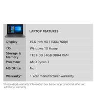 HP 15 dy0004AU Notebook Ryzen 4 GB 39.62cm(15.6) Windows 10 Home without MS Office Integrated Graphics Black