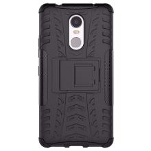 Qzey Kick Stand Hard Dual Rugged Armor Hybrid Bumper Back Cover for Lenovo K6 Note - Black