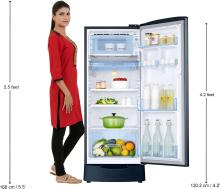 Samsung 192 L Direct Cool Single Door 5 Star Refrigerator with Base Drawer(Saffron Blue, RR20R182XU8/HL)