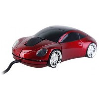 Sports Car Style USB Optical Wired Mouse (Red) 1000 DPI